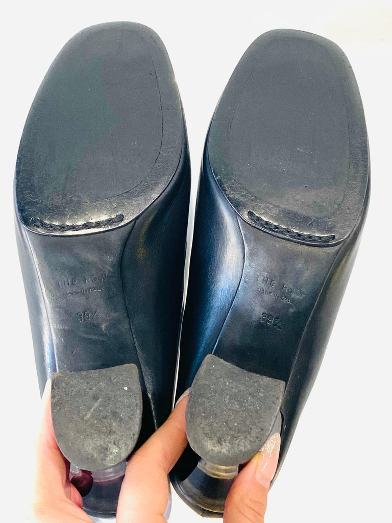 THE ROW Angela Resin Heel Mules Black/ Bordeaux Shoes Size 39.5 For Sale 4