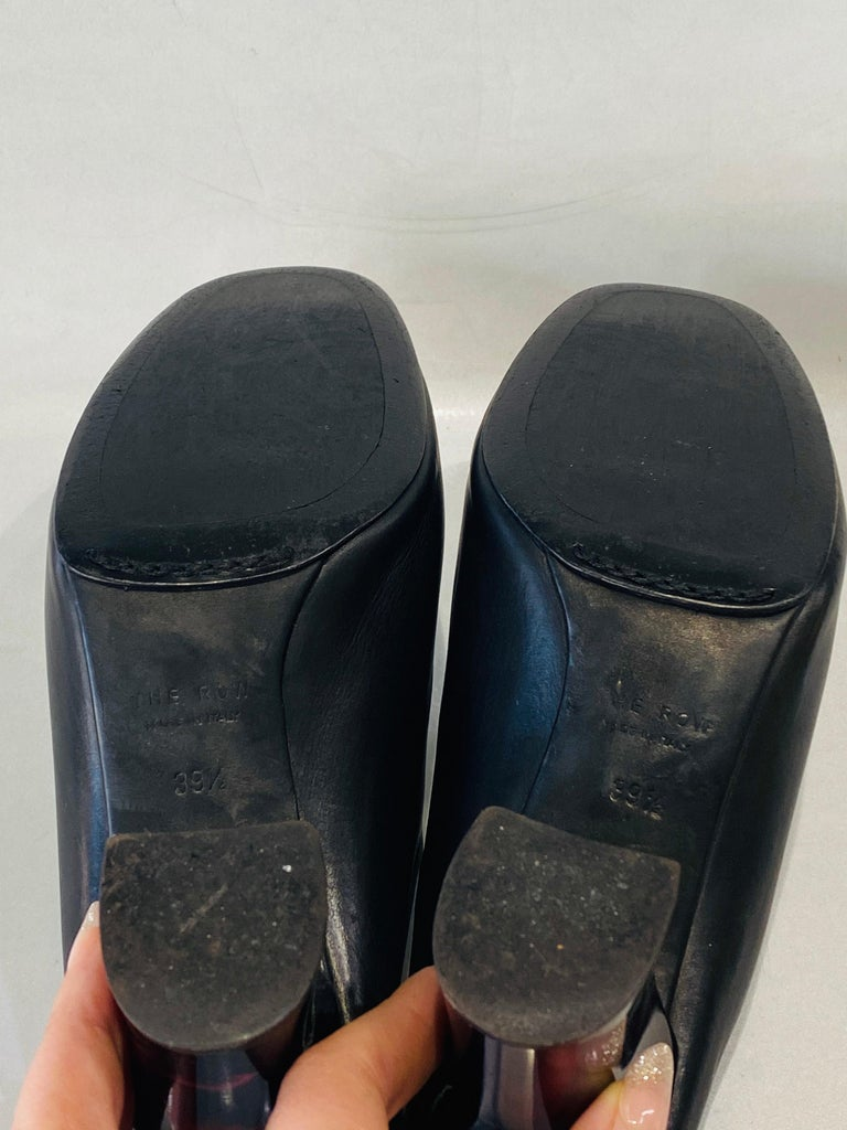 THE ROW Angela Resin Heel Mules Black/ Bordeaux Shoes Size 39.5 For Sale 5
