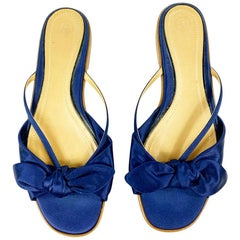 THE ROW April Navy Silk Bow Slippers Size 38.5 w/ box