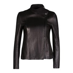 The Row Black Brilly Leather Zip Front Moto Jacket XS