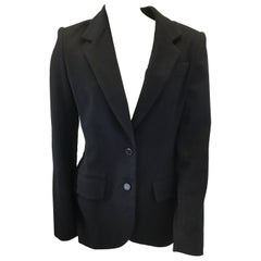 The Row Black Cashmere Jacket with Leather Elbow Patches