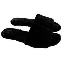 The Row Black Ellen mink-fur slides - Size 38