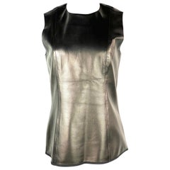 THE ROW Black Lambskin Leather Sleveless Top Size 8