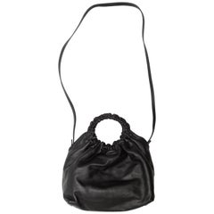 The Row Black Leather Small Double Circle Bag