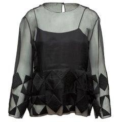 The Row Black Sheer Long Sleeve Silk Blouse