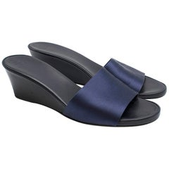 The Row Blue Suede Wedge Mules SIZE 38