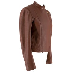 The Row Brown Deer Skin High Neck Leather Jacket SIZE 6