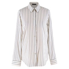 The Row Cream Striped Silk 'Peter' Shirt US 2