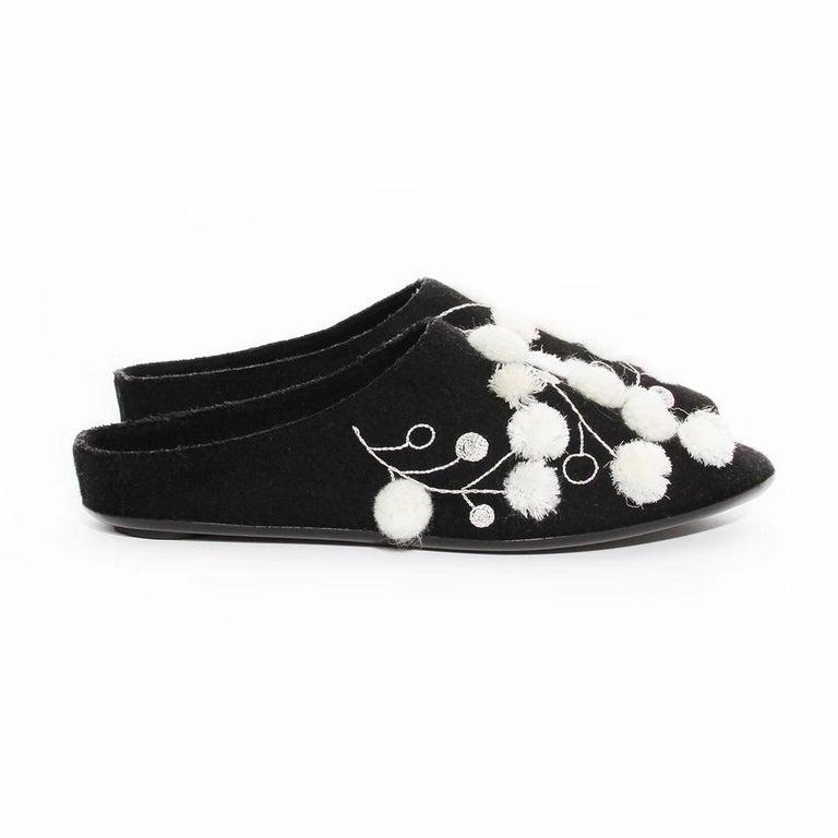 The Row Mule  Made in Italy Black Felt  Embroidered with white thread and