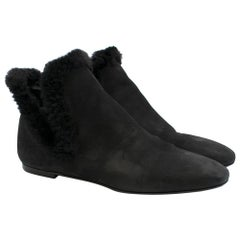 The Row Eros Shearling-Trimmed Nubuck Ankle Black Boots SIZE 39