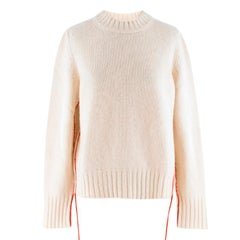 The Row Ivory Cashmere Knit With Red Trim Sweater - US/6