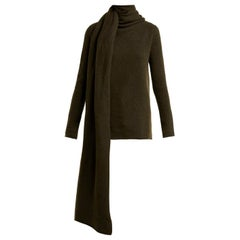 The Row Merriah Scarf-Trimmed Mélange Cashmere-Blend Sweater