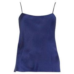 THE ROW navy blue silk Camisole Sleeveless Shirt Top S