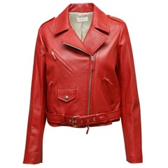 The Row Red Leather Moto Jacket