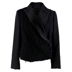 The Row Silk & Astrakhan Fur Wrap Style Jacket - Size US 2