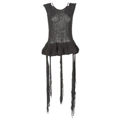 The Row Silk Knit Peplum Fringe Sweater