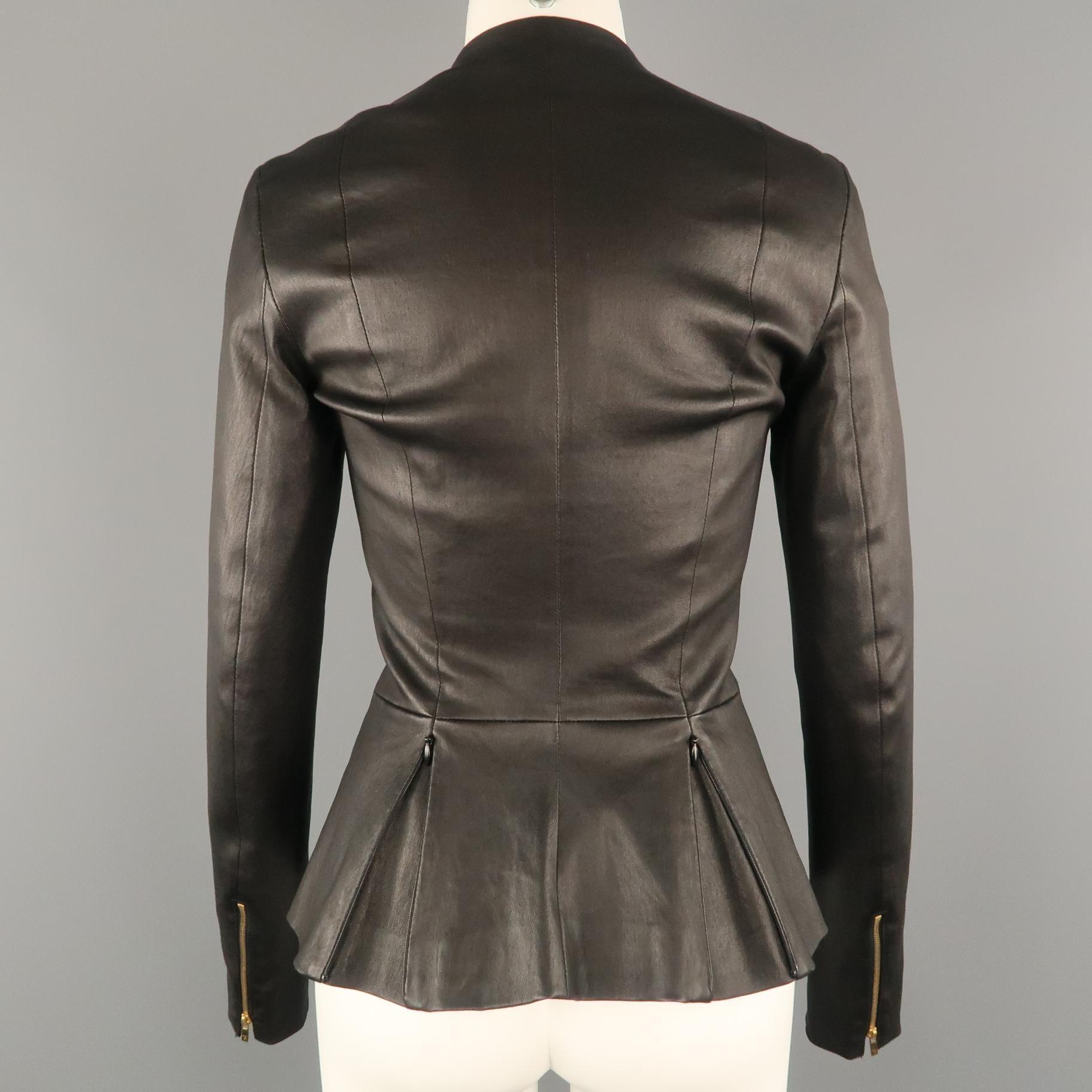 d4b29ebe8 THE ROW Size 4 Black Leather Zip Peplum ANASTA Jacket