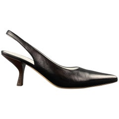 THE ROW Size 9.5 Black Leather BOURGEOISE Slingback Pumps