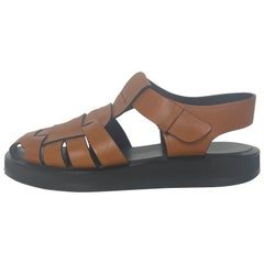 The Row Tan Leather Fisherman Caged Sandals sz 37.5 rt. $990