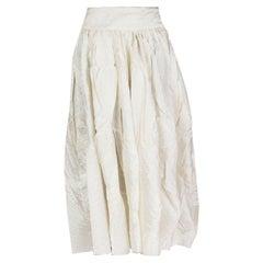 THE ROW white silk Crumpled Midi Skirt M