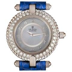 The Royal Diamond Ladies White Gold Blue Mother of Pearl Dial Quartz Wristwatch