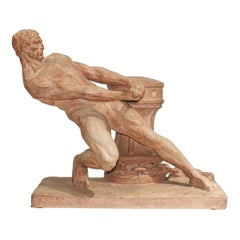 """""""The Rudder"""" French Terracotta Sculpture Signed by Henri Bargas"""