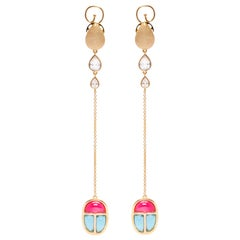 The Scarab Amulet Drop Vermeil Gold Earrings