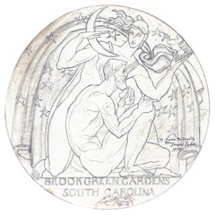 """The Sculptor and His Work,"" Original Drawing for Medal by Donald De Lue"