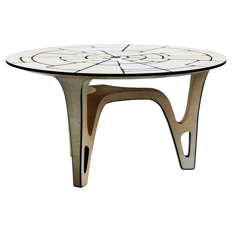 """The Secret Garden"" Round Table, Maple and Ebony by Ivan Paradisi For Sale"