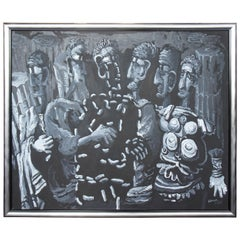 The Senate by Tom Keesee 1985 Black and White Expressionist Acrylic Painting