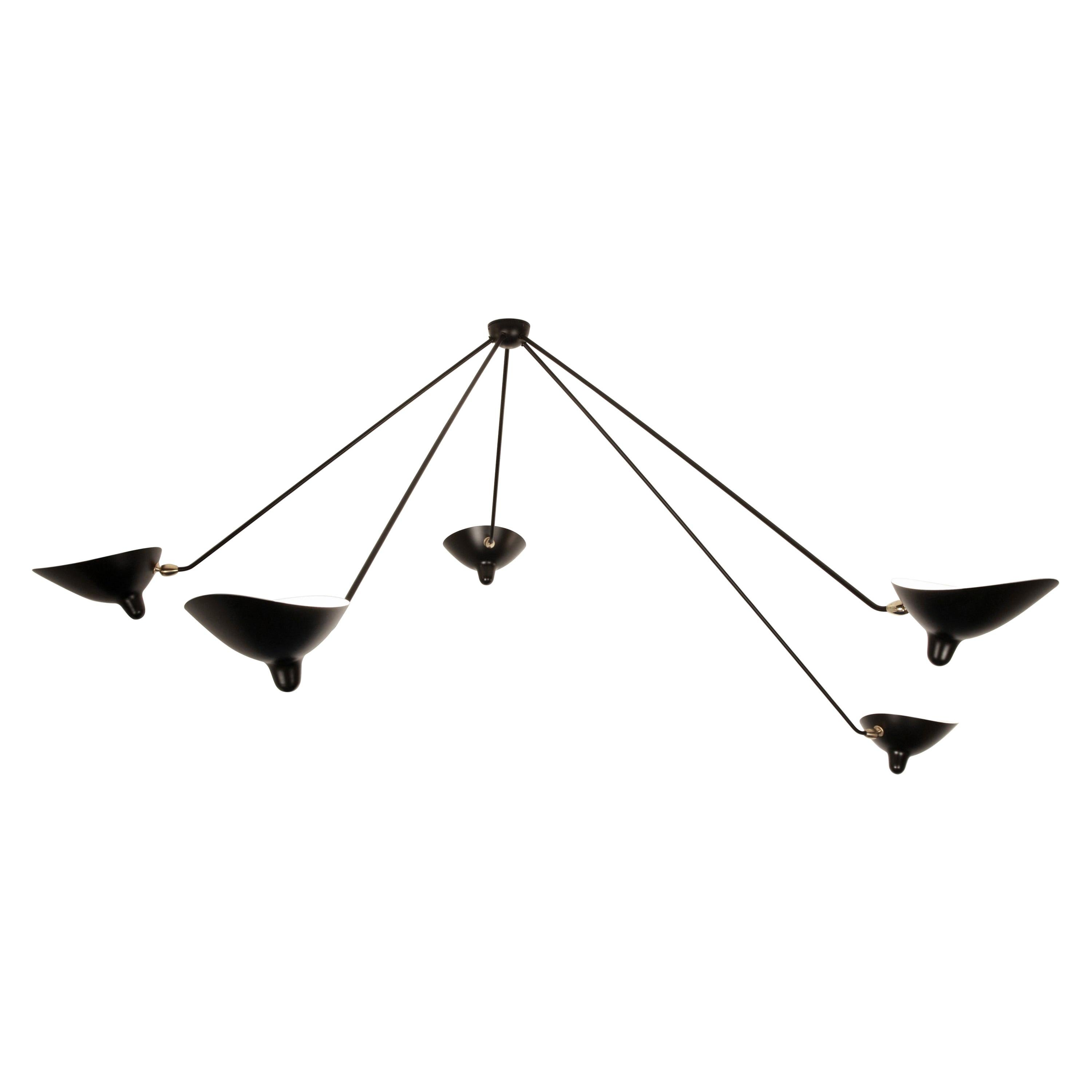 Serge Mouille Pendant Ceiling Spider Lamp with Five Fixed Arms