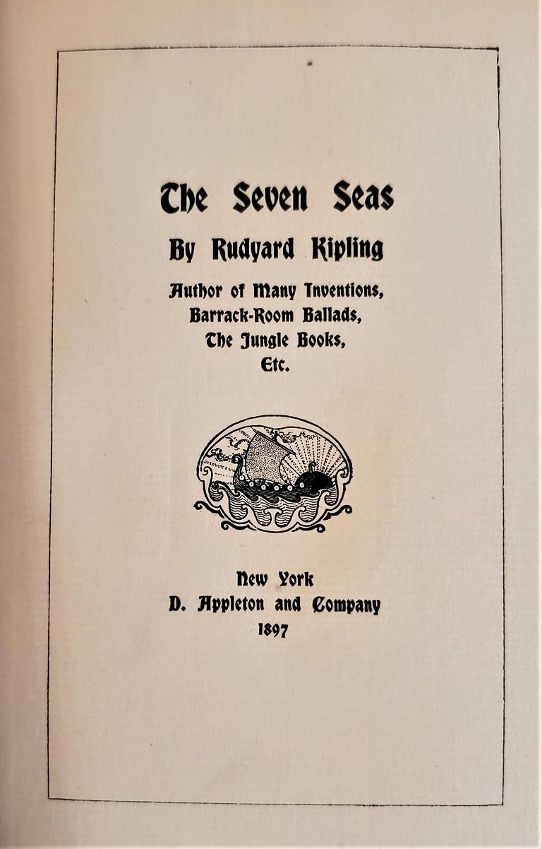 The Seven Seas by Rudyard Kipling First Edition For Sale 4