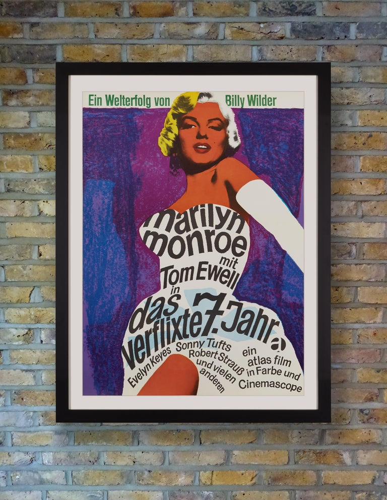 Graphic designer Dorothea Fischer Nosbisch's stunningly vibrant artwork for the 1966 German re-release of 'The Seven Year Itch' has made this a highly sought after poster among collectors. The bold title and credits are incorporated into the