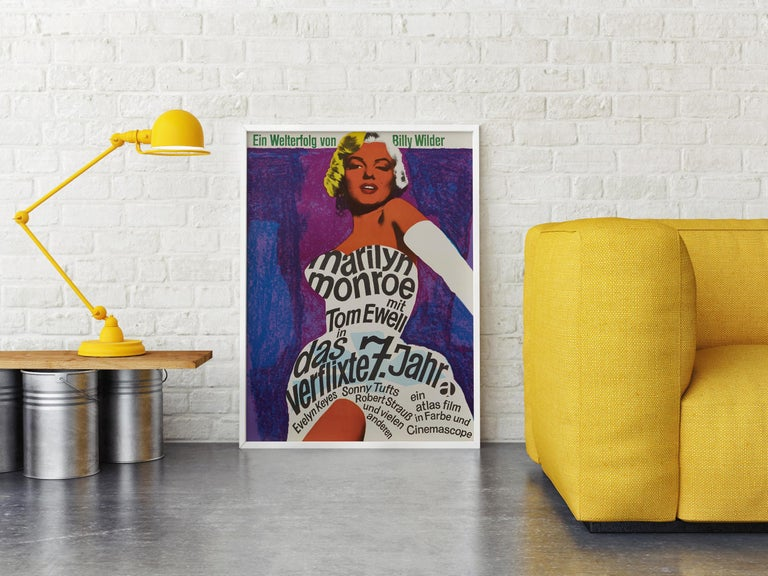 Marilyn Monroe 'The Seven Year Itch' Original Vintage Movie Poster, German, 1966 In Good Condition For Sale In Devon, GB