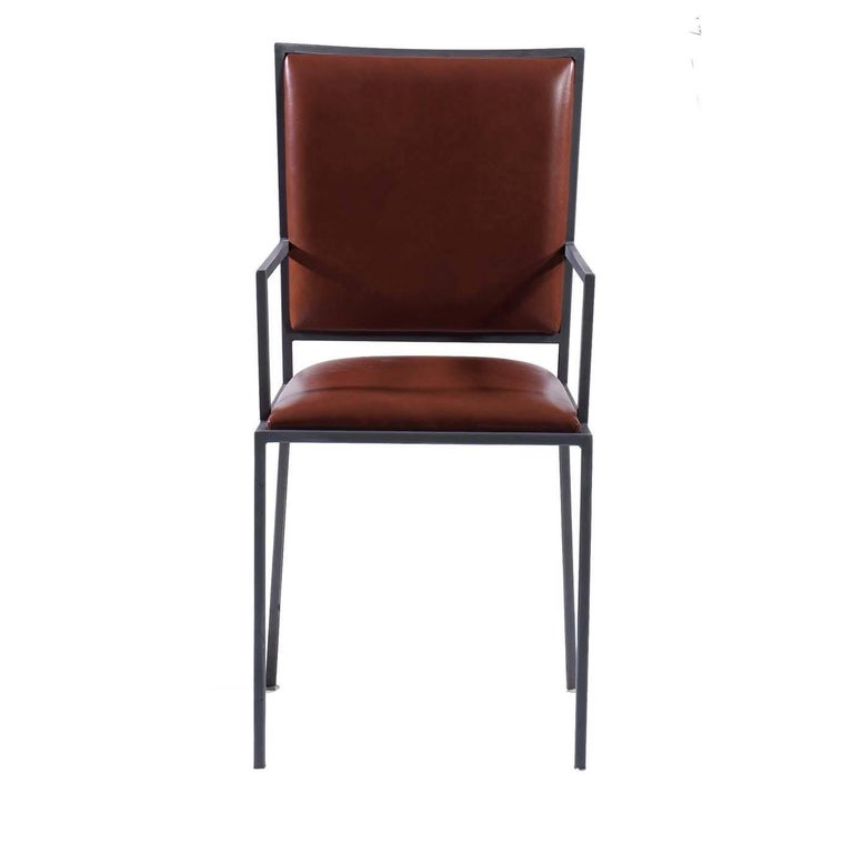 Simple Chair with Armrests in Cognac For Sale