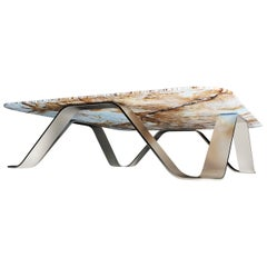 """The Sinusoid"" Coffee Table feat. Stainless Steel & Marble by Grzegorz Majka"
