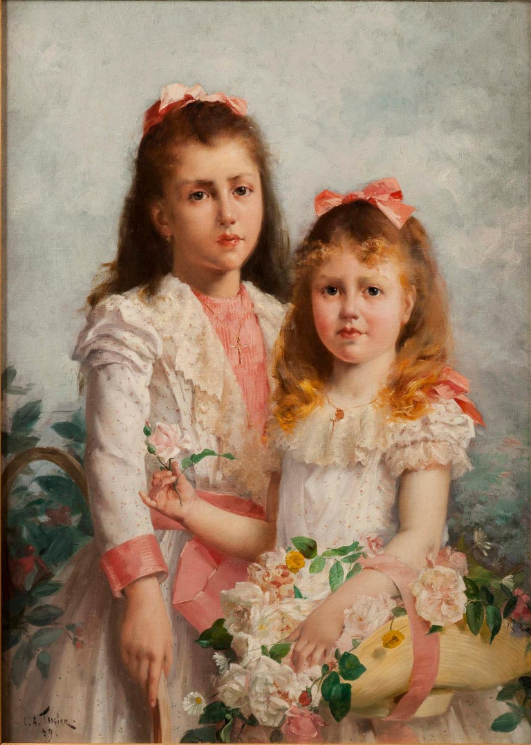 French 'The Sisters' by Louis Adolphe Tessier, a Signed Belle Époque Painting For Sale
