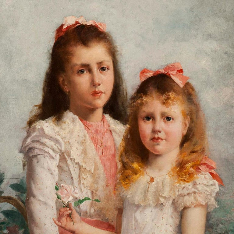 'The Sisters' by Louis Adolphe Tessier, a Signed Belle Époque Painting In Good Condition For Sale In London, GB