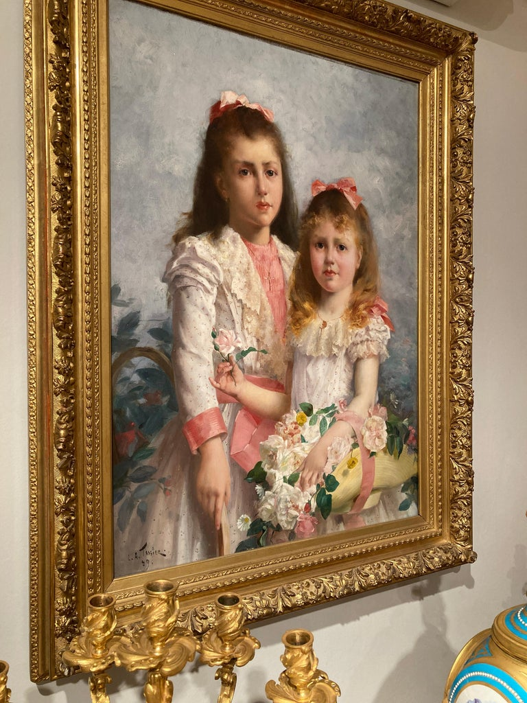'The Sisters' by Louis Adolphe Tessier, a Signed Belle Époque Painting For Sale 2