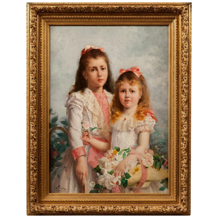 'The Sisters' by Louis Adolphe Tessier, a Signed Belle Époque Painting For Sale