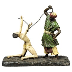 'the Slave Master', a Cold Painted Orientalist Bronze Group