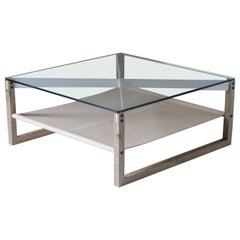The Sling Coffee Table, Glass, Natural Leather, and White Oak