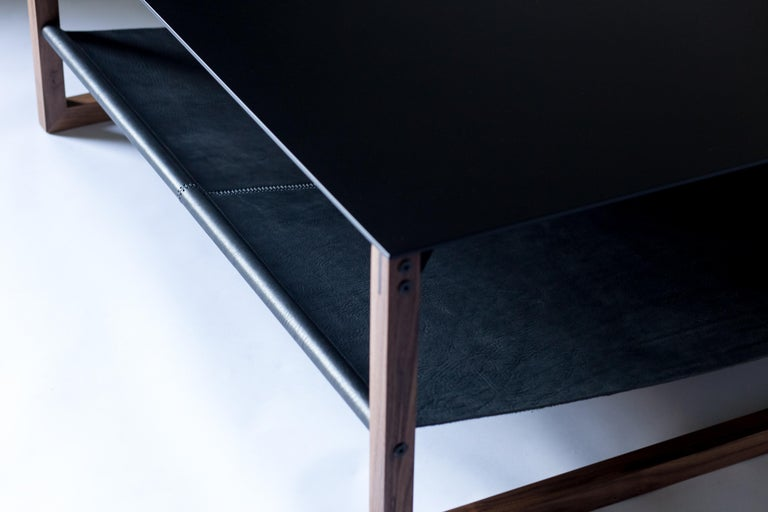The Sling, Modern Aluminum, Leather and Walnut Square Coffee Table For Sale 4