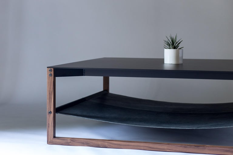American The Sling, Modern Aluminum, Leather and Walnut Square Coffee Table For Sale