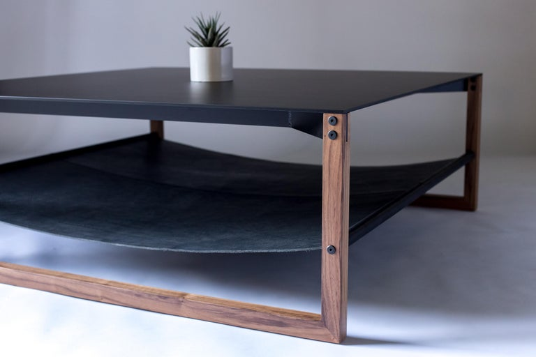 Powder-Coated The Sling, Modern Aluminum, Leather and Walnut Square Coffee Table For Sale