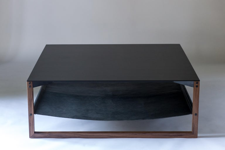 The Sling, Modern Aluminum, Leather and Walnut Square Coffee Table In New Condition For Sale In West Linn, OR