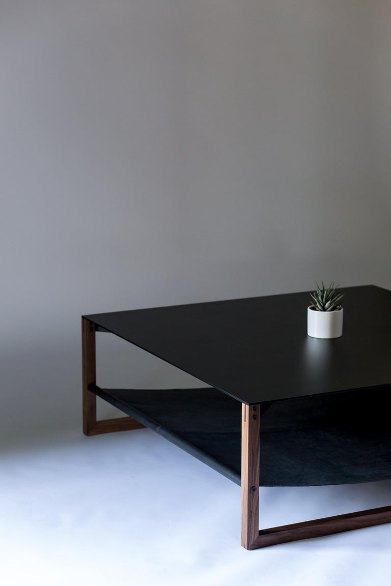 The Sling, Modern Aluminum, Leather and Walnut Square Coffee Table For Sale 1