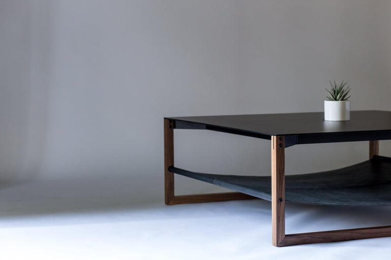 The Sling, Modern Aluminum, Leather and Walnut Square Coffee Table For Sale 2