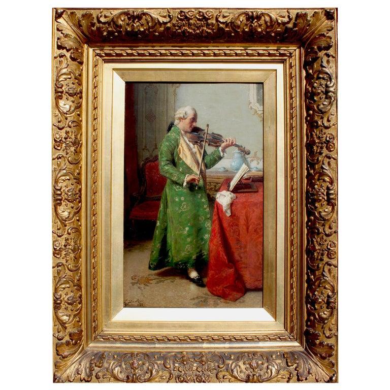 """""""The Solo Violinist"""" a Fine Oil on Canvas by Luigi Da Rios For Sale"""