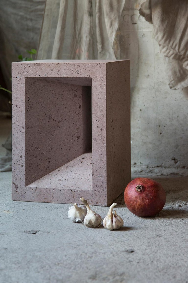Side table No.1 is handcrafted from pink tuff in a limited edition of 5, and comes with a